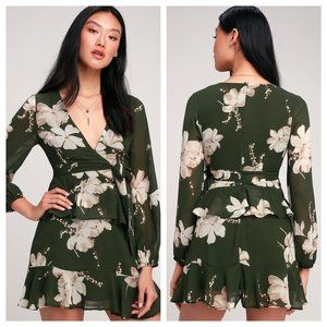 Jasmine and Yours Lulus Green Floral Ruffle Mini